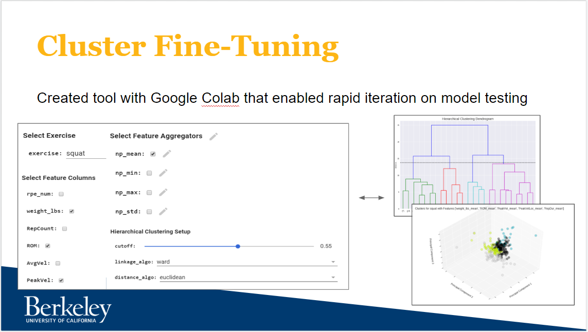 Figure 1: The Cluster Fine-Tuning tool created for feature engineering in Google Colab
